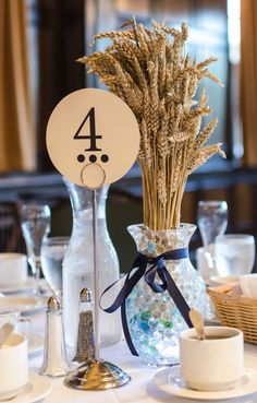 rustic country wheat wedding table numbere / http://www.deerpearlflowers.com/wheat-wedding-decor-ideas/