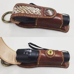 バッチリフィット((キリッ 現物入れるまで不安やった(笑) #leather #手縫い #レザークラフト #マグライトケース