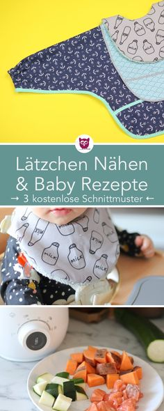 3 Arten Lätzchen nähen & 3 Baby Rezepte - DIY Eule Baby Lead Weaning Recipes, Baby Food Recipes, Sewing Patterns Free, Free Sewing, Free Pattern, Best Foundation For Acne, Owl Clothes, Bibs With Sleeves, 3rd Baby