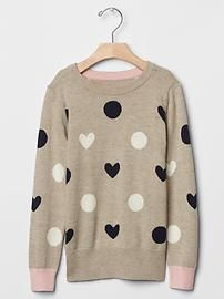 Heart dot intarsia sweater