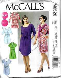 Easy McCall's 6520 Women's Plus Size Dresses And Belt Sewing Pattern, Shirtdress and Shirttail Hem Dress, 18W-24W, UNCUT by DawnsDesignBoutique on Etsy