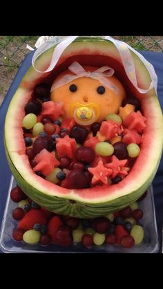 Watermelon baby carriage Fruit Baby Carriage, Watermelon Baby Carriage, Baby Shower Watermelon, Game Ideas, Party Ideas, Party Food Games, Watermelon Ideas, Watermelon Carving, Holiday Snacks
