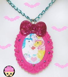 Hot Pink My Little Pony Cameo Necklace with by Pinkspiderwebs #kawaii #jewelry