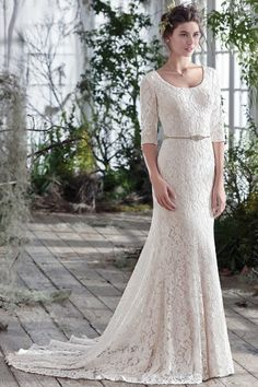 Non Traditional A Line Scoop Diamond Half Sleeve Lace Court Train Champagne Wedding Dresses