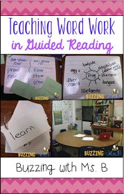 Word Work in Guided Reading (Buzzing with Ms. B) Teaching Word Work in Guided ReadingTeaching Word Work in Guided Reading Guided Reading Activities, Guided Reading Lessons, Reading Strategies, Reading Skills, Teaching Reading, Reading Comprehension, Teaching Ideas, Work Activities, Reading Tips