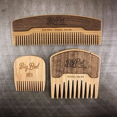 "Introducing the No.95. The second comb with our new ""Through Scale"" construction.  This comb shares tooth patterns from our No.38 & No.9 combs making it an ideal comb for those larger or unruly beards. Our standard fine tooth No.5 & No.99 in Cherry shown for size comparison. So smooth. What do you guys think? #bigredbeardcombs #beard #beards #bearded #beardcomb #beardcombs #pocketcomb #bigredno.95 #girlswholovebeards #gentlemen #noshave #beardbalm #beardoil #mustache #mustachewax…"