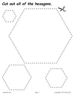 FREE cutting worksheets. Includes a hexagon cutting practice worksheet plus 11 other shapes. Great for toddlers, preschool, and kindergarten! Get all of the shape scissor skills worksheets here --> http://www.mpmschoolsupplies.com/ideas/7556/12-free-printable-shapes-cutting-worksheets/