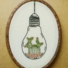 Cactus in a Light Bulb Terrarium Hand Embroidery Pattern