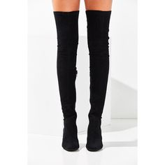 Jeffrey Campbell Cienega Over-The-Knee Boot ($190) ❤ liked on Polyvore featuring shoes, boots, black over the knee boots, black boots, jeffrey campbell boots, block heel boots and thigh high boots