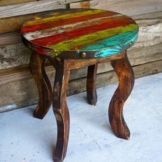 Zarape Round Side Table availble in multicolor distressed paint scheme Distressed Furniture, Funky Furniture, Paint Furniture, Rustic Furniture, Furniture Decor, Furniture Outlet, Furniture Stores, Western Decor, Country Decor