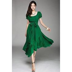 vestido de la gasa del dobladillo midi aysm manga de soplo de ronda de las mujeres - MXN $ 308.09