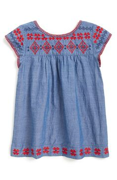 Peek 'Glory' Embroidered Chambray Dress (Baby Girls) available at #Nordstrom