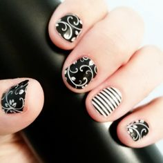 Black Floral and Black & White Skinny Jamberry nail wraps https://jamswithandrea.jamberry.com/us/en/