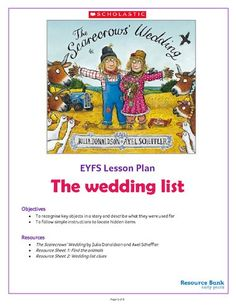 The Scarecrows' Wedding - The wedding list activity pack - EYFS An brilliant new EYFS activity pack based around Julia Donaldson's popular children's book The Scarecrows Harvest Activities, Rhyming Activities, Autumn Activities, Educational Activities, Preschool Activities, Harvest Eyfs, The Scarecrows Wedding, World Book Day Activities, Literacy Day