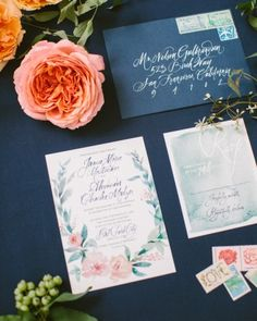 Julie Song Ink created a custom watercolor invitation suite featuring a floral wreath that would match with the actual flowers being used at Jamie and Alex's nuptials.