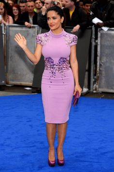 Prometheus - World Premiere - Salma Hayek <- Purple is my favorite color and I'm digging this dress. She looks fabu!