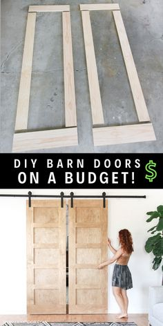 Making Barn Doors, Building A Barn Door, Diy Projects On A Budget, Diy Furniture On A Budget, Diy On A Budget, Porte Diy, Diy Interior Doors, Diy Sliding Barn Door, Diy Barn Door Plans