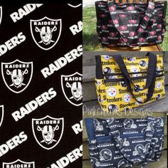 Custom made to order NFL Oakland Raiders ultimate diaper bag with magnetic snap on Etsy, $60.00