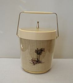 Vintage Tropical Plastic and Brass Ice Bucket