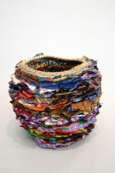 """Basket (14), twine, thread and fabric approx 10"""" x 9"""" 2013"""