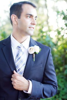 Dapper Navy Wedding Suit.  Romantic-Modern-Vintage-Sunset-Ranch-North-Shore-Oahu-Hawaii-Elopement- by Ashley Goodwin Photography