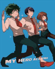 Pixiv Id 5086155, Boku no Hero Academia, Iida Tenya, Uraraka Ochako, Midoriya Izuku
