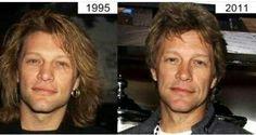 Jon Bon Jovi pics 16 years apart. Wow.