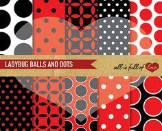 LADYBUG Scrapbooking Digital Paper Pack RED & by AllFullOfLove, $2.99