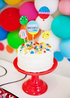 Rainbow Birthday Cake with free printable balloon topper