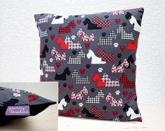 "Handmade 16""x16""/18""x18"" Cotton Cushion Pillow Cover Benartex Great Scotts Scottie Dogs Black/White/Red Houndstooth Design"