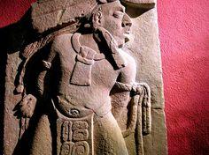 Ancient Mayan sculpture, Museum of Toniná, Mexico.