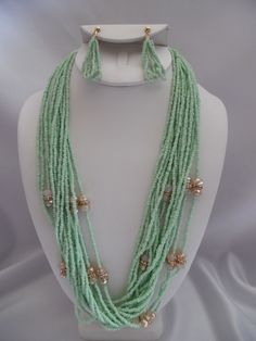 Clip on earring seafoam seed bead & stone long necklace set  $11.99 https://hipandcoolcliponearringstwo.com