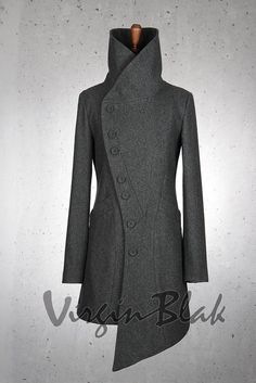 Virgin Blak Curve Button Coat 1 formal coat Asymmetric hem, curved line of buttons Look Fashion, Winter Fashion, Fashion Outfits, Womens Fashion, Fashion Design, Fashion Trends, Mode Mantel, Mode Chic, Mode Hijab