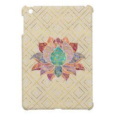 Watercolor & Gold paisley decorated lotus iPad Mini Covers - yoga health design namaste mind body spirit