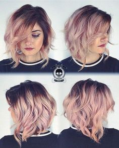Ombre, Curly Lob Hairstyles - Shoulder Length Haircut