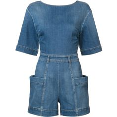 Stella McCartney Denim Romper with Cutout Back ($715) ❤ liked on Polyvore featuring jumpsuits, rompers, good jeans, kirna zabete, kzloves, denim romper, stella mccartney, denim rompers, long-sleeve romper and blue rompers