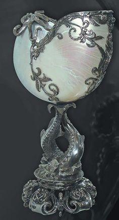 Art nouveau nautilus shell in silver by echkbet
