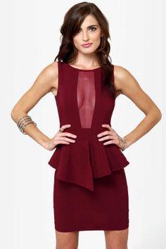 Sexy Burgundy Dress - Peplum Dress - Cutout Dress - $34.00