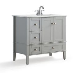 "Simpli Home Chelsea Right Offset 37"" Single Bathroom Vanity with Quartz Marble Top"