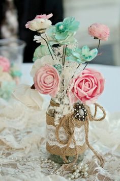 Sarah & Sam's Romantic Countryside Wedding | Two Birds One Stone Wedding {Abilene, TX Wedding Photographer} | centerpieces, sola wood flowers, mint, pink, lace, burlap, mason jars