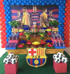 Soccer Birthday Parties, Football Birthday, Birthday Party Themes, Happy 15th Birthday, Happy Birthday Banners, Birthday Decorations, Barcelona Soccer Party, Ideas Decoracion Cumpleaños, Lionel Messi Wallpapers
