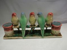 Rare and Unusual Large Spill Holder With Brightly Coloured Budgies/Parrots