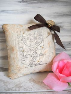 Charming Mini Embellished French Country Pillow Pin Cushion - Chateau Paris