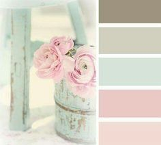 Cool mint, light pink rustic colors and cake - distressed mint and white for the guest bedroom colors....maybe?