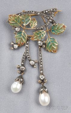 Art Nouveau Plique-a-jour, Diamond, and Pearl Brooch, depicting plique-a-jour leaves trailing flexible rose-cut diamond vines, bezel-set old European-cut diamond melee accents, silver-topped gold mount, lg. 2 1/8 in.