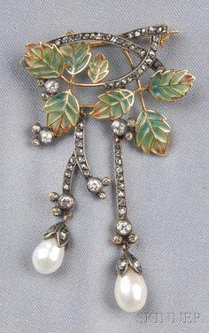 Art Nouveau Plique-a-jour, Diamond, and Pearl Brooch,