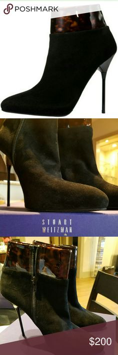 Stuart Weitzman Close Call Patent-Trimmed Suede St The glossy patent leather and supple suede of this Stuart Weitzman bootie send a texture message that won't get lost in translation. Smooth suede upper trimmed in tortoise-like patent leather. Ankle-high shaft. Almond toe. Leg-sculpting stiletto heel. Made in Spain of Italian materials.  WORN ONCE IN EXCELLENT CONDITION Stuart Weitzman Shoes Ankle Boots & Booties