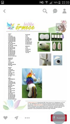 Renkli At Crochet Horse, Crochet Unicorn, Crochet Baby, Crochet Doll Pattern, Crochet Patterns Amigurumi, Amigurumi Doll, Crochet Bookmarks, Unique Toys, Crochet Accessories