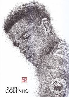 Liverpool Football Club, Live Life Red!-Philippe Coutinho :black pen drawing  ‪#‎Liverpool‬ ‪#‎TheKopArtsStudio‬.