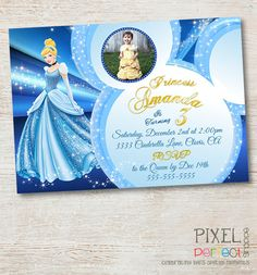 Cinderella Invitation, Cinderella Birthday Invitation, Cinderella, Disney Princess Invitation, Custom Party Printables, Disney Invitation